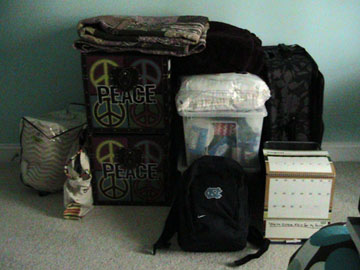 photo of my bags packed for college