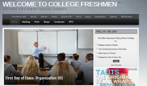 home page on Welcome to College Freshman