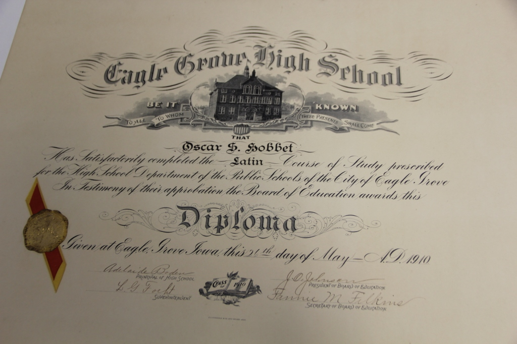 Oscar Hobbet's Diploma